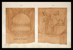 Two drawings of sculpture on the stupa rail at Bodhgaya (Bihar), made by Kittoe during his investigation of the site. January 1847. 11